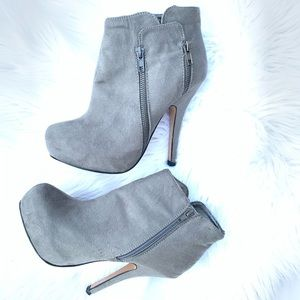 JustFab Platform Stiletto Ankle Boots in Grey